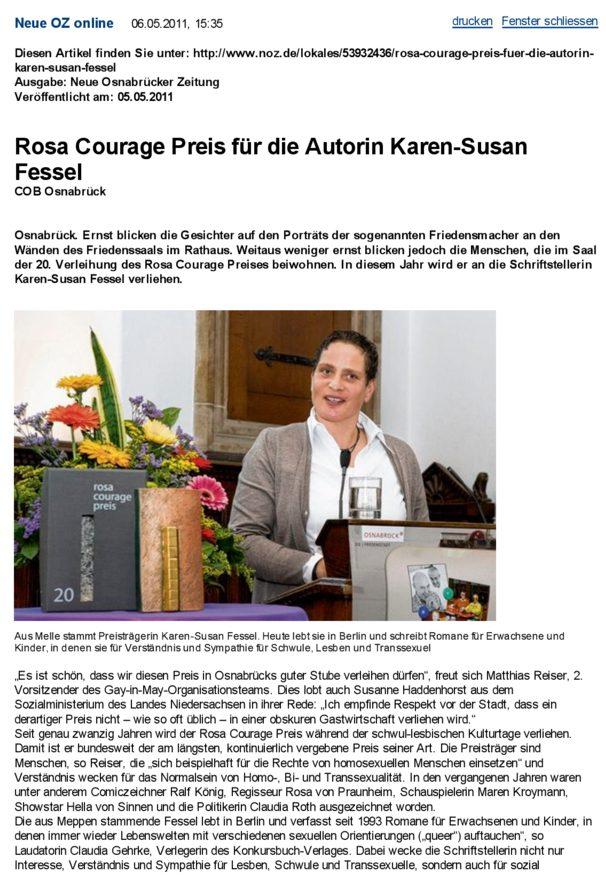 Rosa Courage Preis 05.05.2011