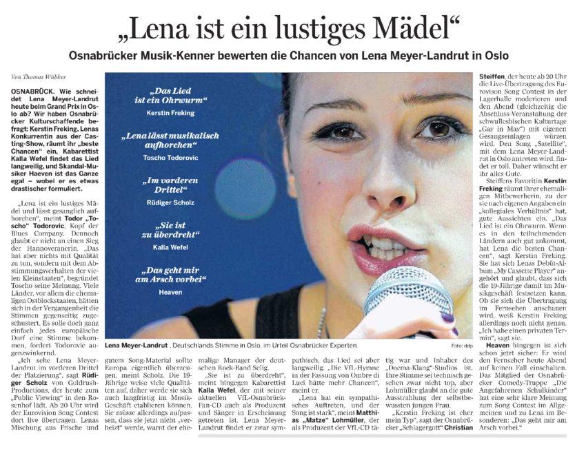 Neue Osnabruecker Zeitung Lena 29.05.2010