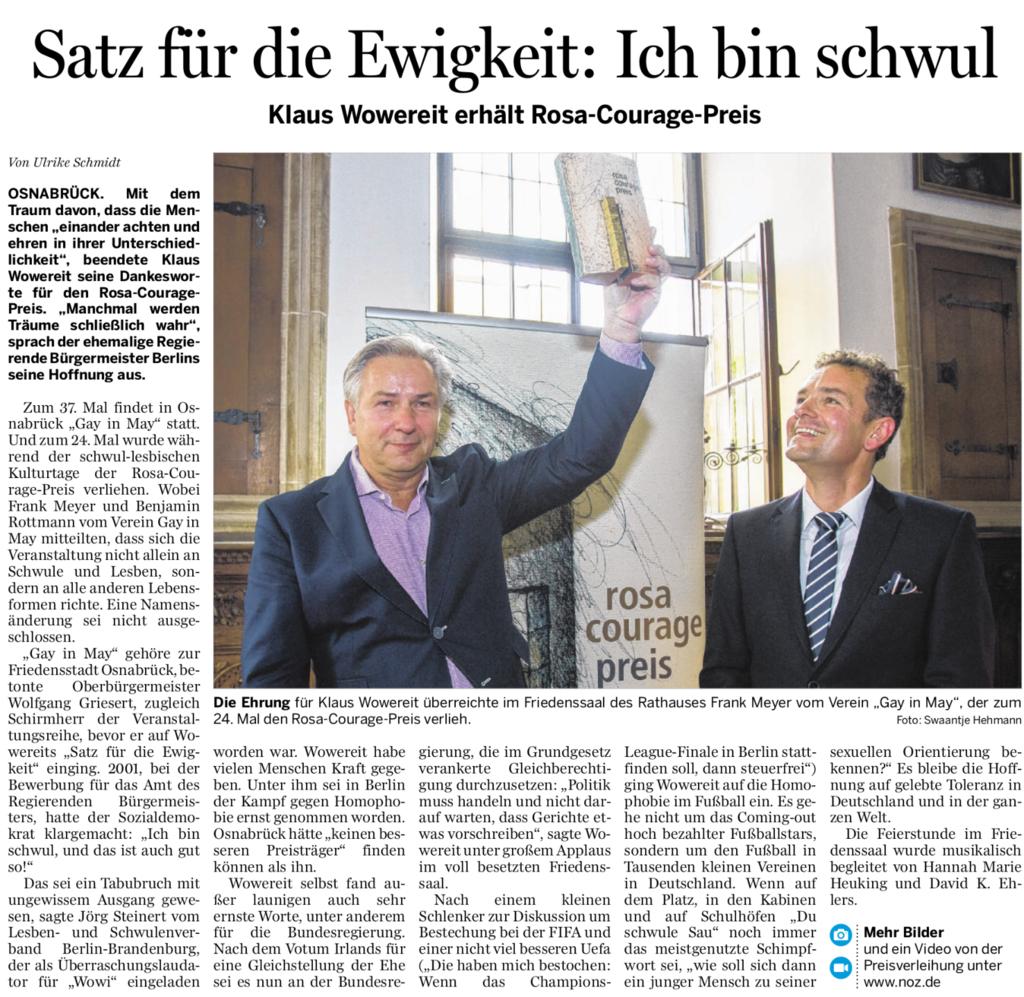 Klaus Wowereit Rosa Courage Preis